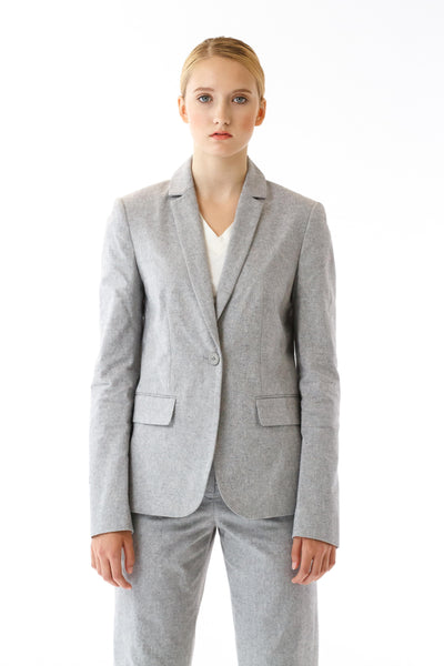 Womens Grey Suit Jacket front view