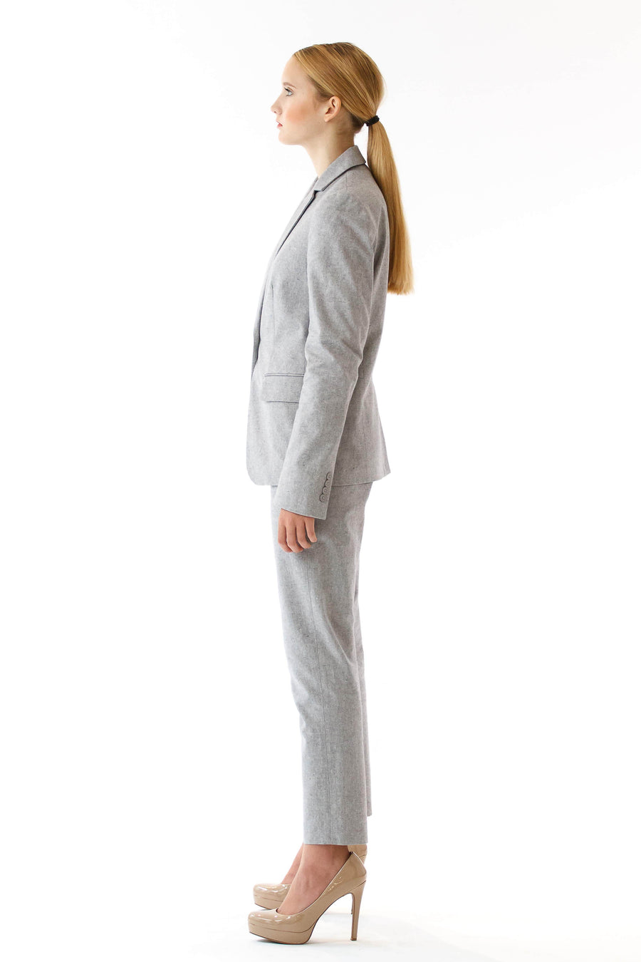 Womens Grey Suit Pants front view