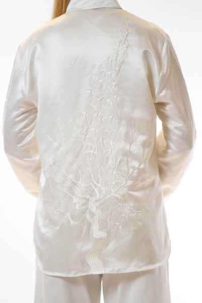 Womens Embroidered White Hempsilk Shirt back detail view