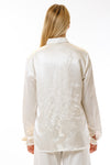 Womens Embroidered White Hempsilk Shirt back view