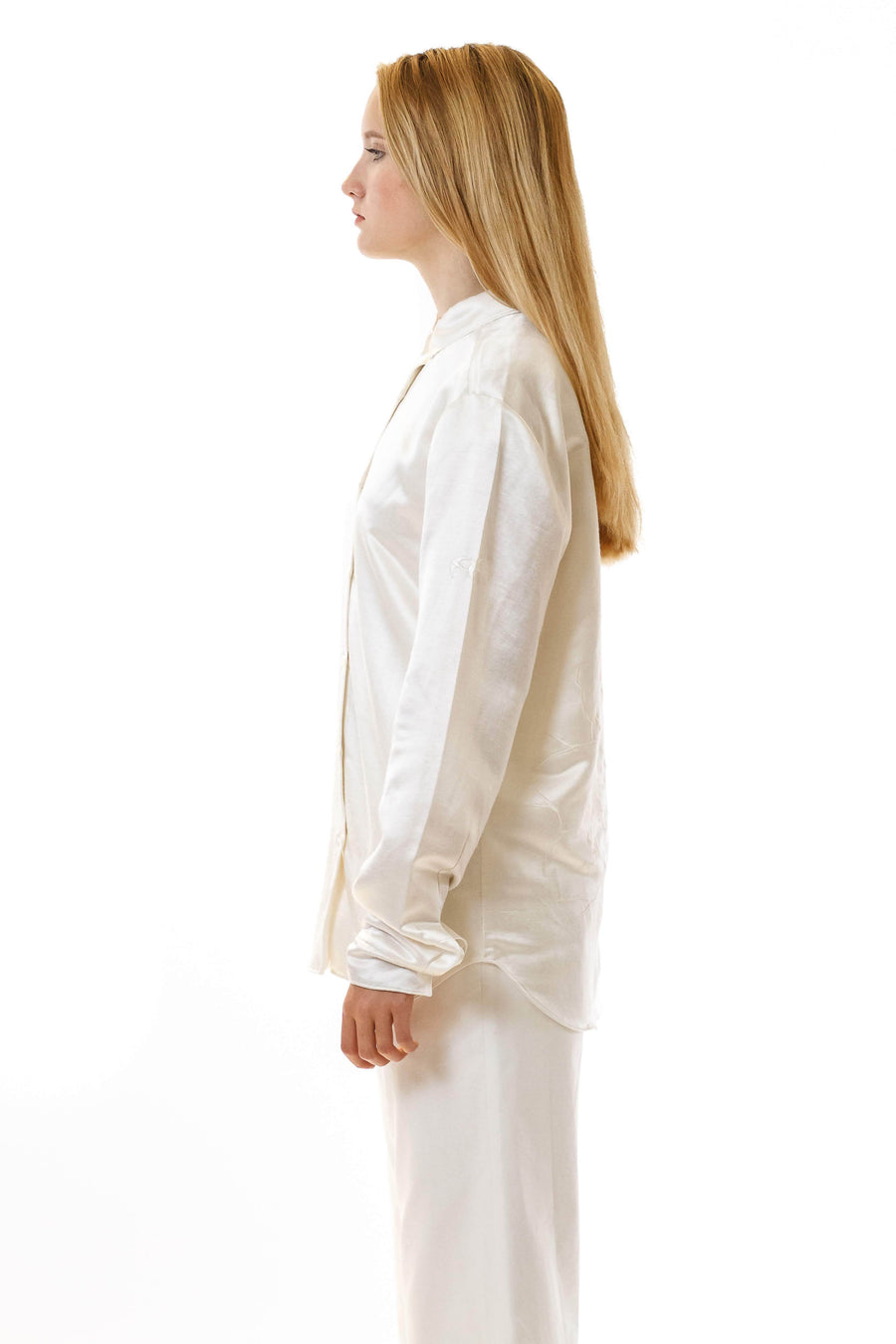 Womens Embroidered White Hempsilk Shirt front view