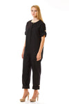 Womens Black Jumpsuit three quarter view