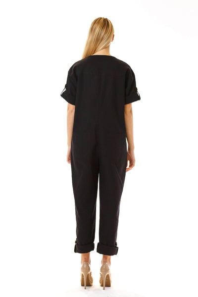 Womens Black Jumpsuit back view