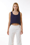 Womens Navy Fishtail Tank front view