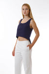 Womens Navy Fishtail Tank three quarter view