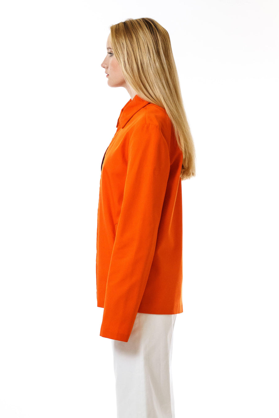 Womens Orange Recycled Mackintosh Jacket front view