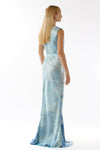 Womens Printed Silk Evening Gown back view