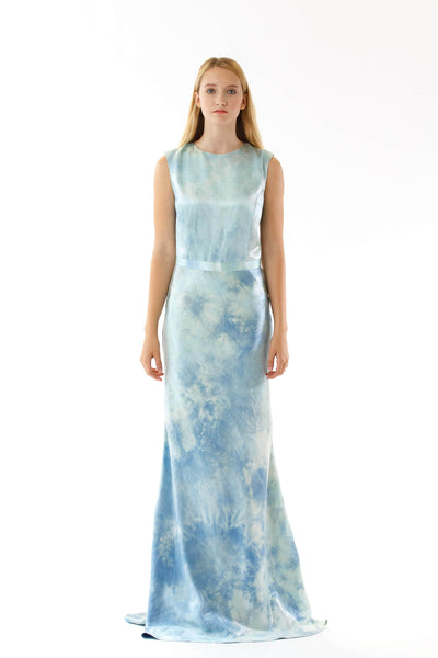 Womens Printed Silk Evening Gown front view