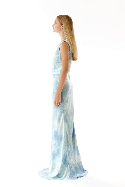 Womens Printed Silk Evening Gown side view