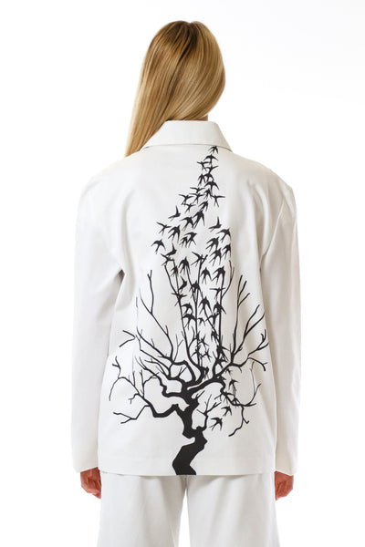 Womens Printed White Mackintosh Jacket back view
