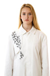 Womens Printed White Mackintosh Jacket front details view