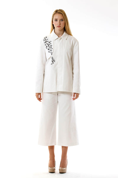 Womens Printed White Mackintosh Jacket front view