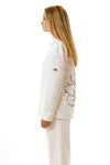 Womens Printed White Mackintosh Jacket side view