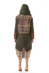 Womens Rainbow Accented Green Parka back view