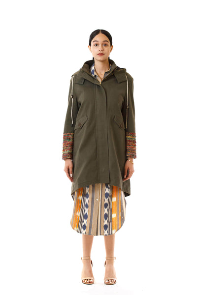 Womens Rainbow Accented Green Parka front view