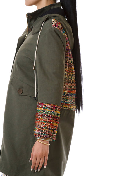 Womens Rainbow Accented Green Parka side details view