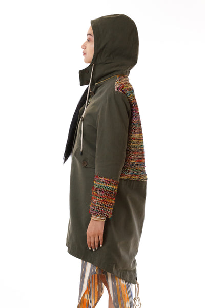 Womens Rainbow Accented Green Parka side view