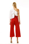 Womens Red Paperbag Pants Embroidered Scarf back view