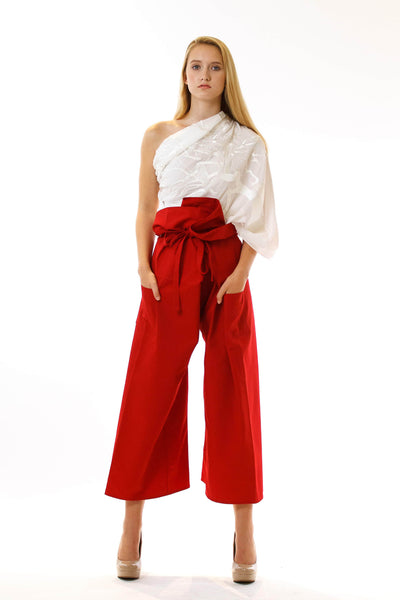 Womens Red Paperbag Pants Embroidered Scarf front view