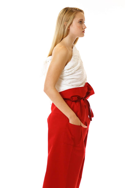 Womens Red Paperbag Pants Embroidered Scarf side view
