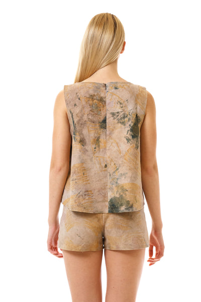 Womens Watercolor Printed Shorts and Swing Top back view