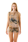 Womens Watercolor Printed Shorts and Swing Top front view
