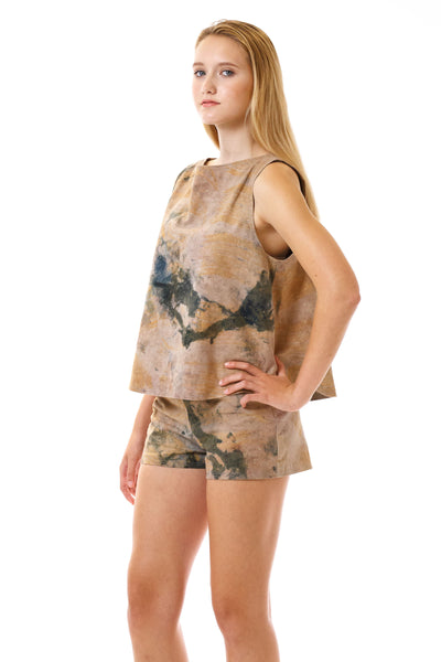 Womens Watercolor Printed Shorts and Swing Top three quarter view