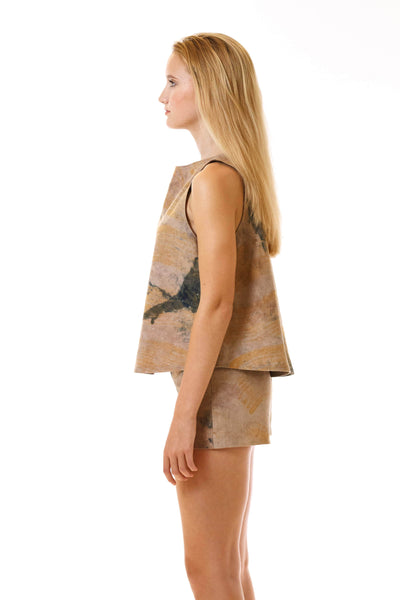 Womens Watercolor Printed Shorts and Swing Top side view