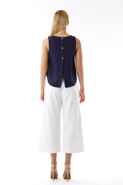 Womens White Culottes and Navy Fishtail Tank back view