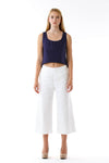 Womens White Culottes and Navy Fishtail Tank front view