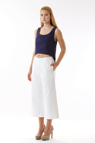Womens White Culottes and Navy Fishtail Tank three quarter view