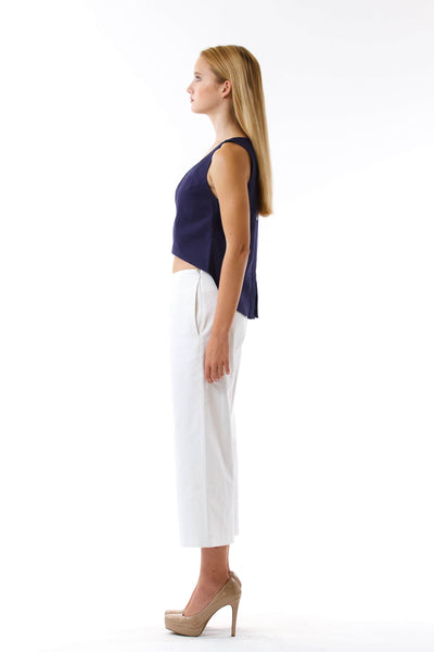 Womens White Culottes and Navy Fishtail Tank side view