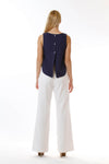 Womens White Long Pants and Navy Fishtail Tank back view