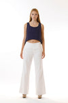 Womens White Long Pants and Navy Fishtail Tank front view
