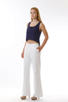 Womens White Long Pants and Navy Fishtail Tank three quarter view