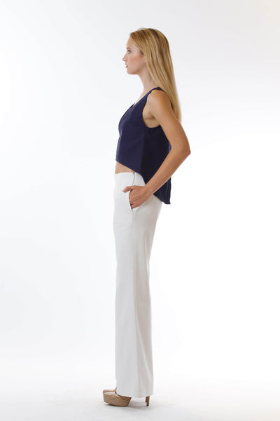 Womens White Long Pants and Navy Fishtail Tank side view