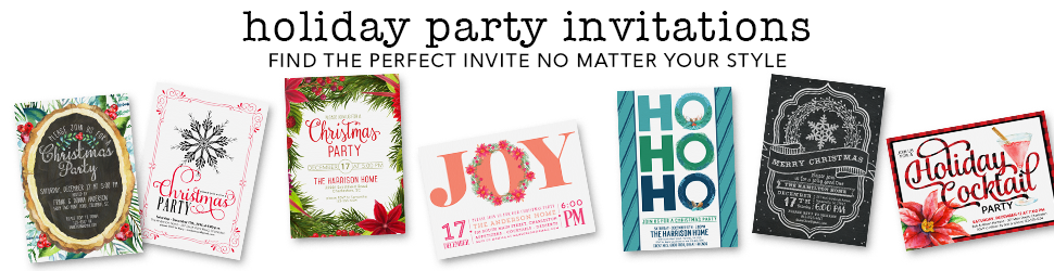 Christmas invitations and holiday party invitations from Cloud 9 Paperie