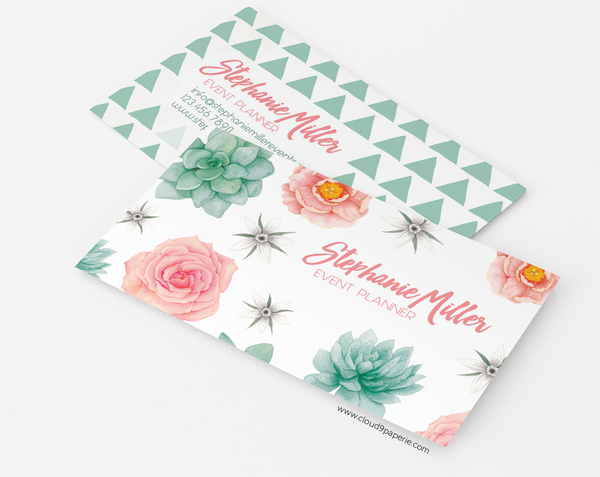 Succulent & Flower Watercolor Boho Business Card or Calling Card