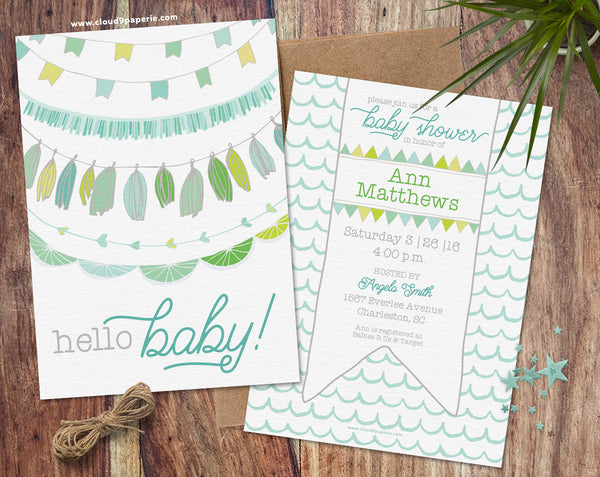 Baby Boy Garland & Bunting Baby Shower Invitation