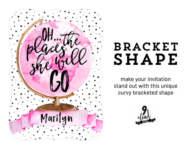 Oh the Places She'll Go Travel Globe Girl Birthday Party Invitation