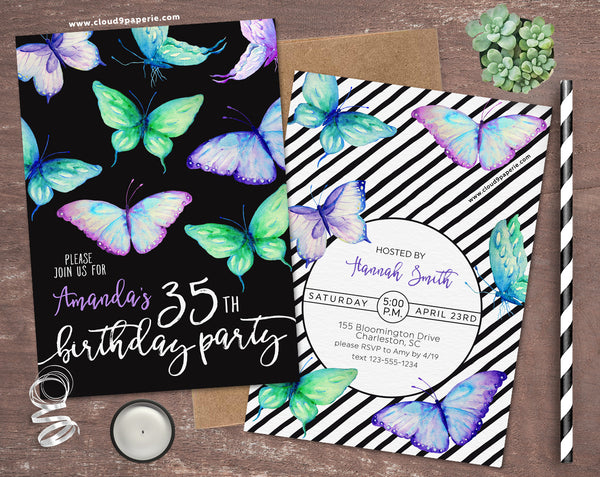 Watercolor Butterflies Adult Birthday Invitation
