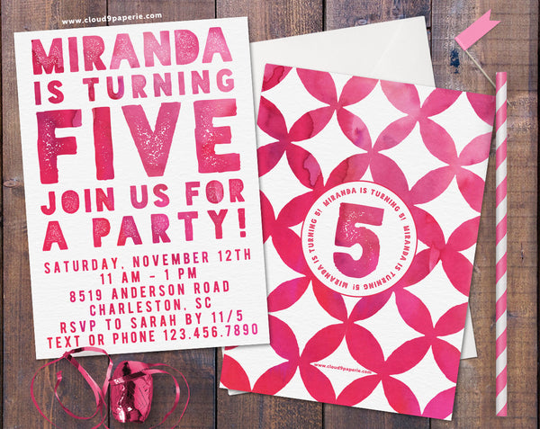 Pink Watercolor Typography Girl Birthday Party Invitation