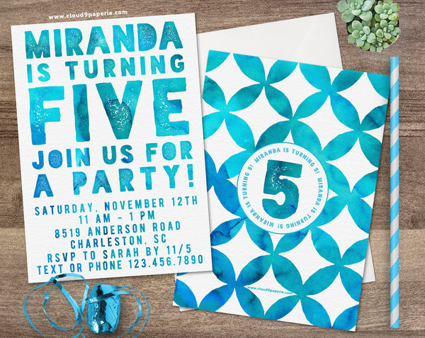 Blue Watercolor Typography Children's Birthday Party Invitation