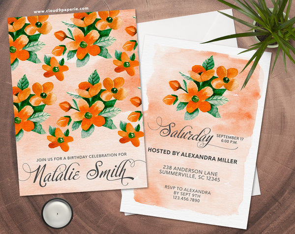 Orange Floral Watercolor Adult Birthday Invitation