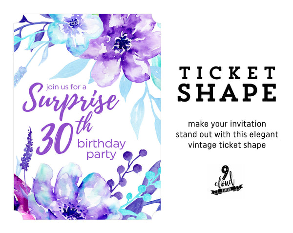 Aqua & Purple Floral Watercolor Surprise Adult Birthday Invitation