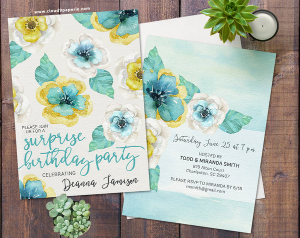 Mint & Gold Floral Watercolor Surprise Adult Birthday Invitation