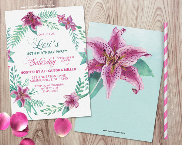 Tropical Floral Watercolor Adult Birthday Invitation