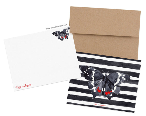 Black & Red Butterfly Watercolor Personalized Stationery Note Card - Boxed Set of 25