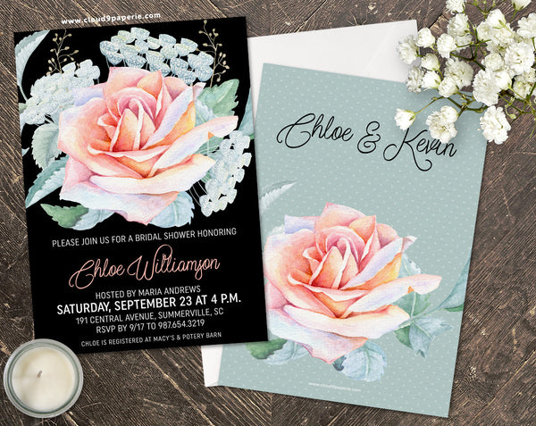 Black & Pastel Watercolor Floral Bridal Shower Invitation