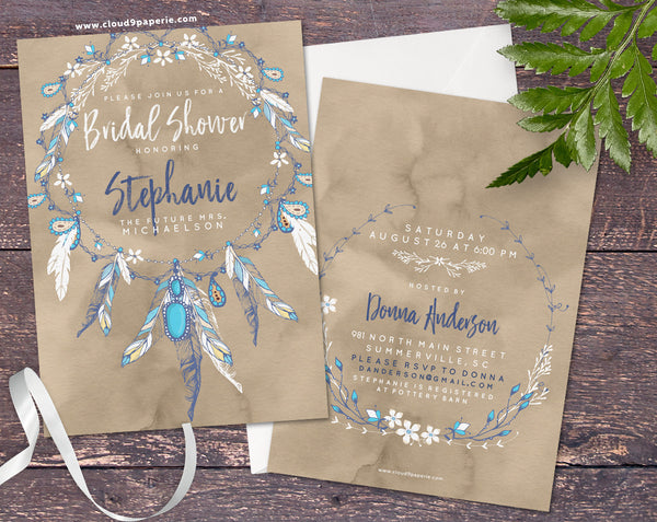 Boho Feather & Turquoise Necklace Watercolor Bridal Shower Invitation